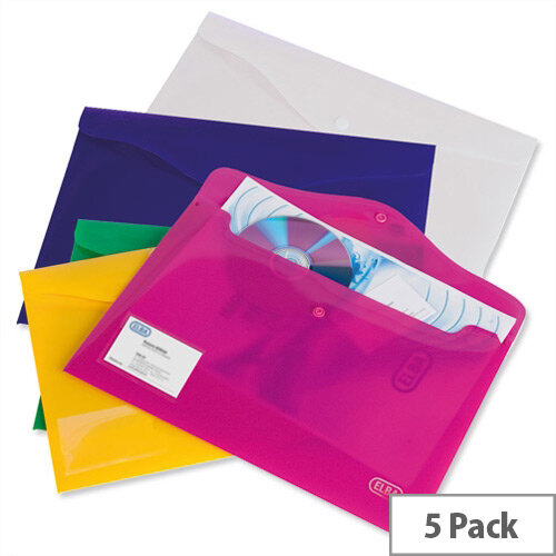 Elba Bright A4 Document Wallets Assorted Colours Pack 5