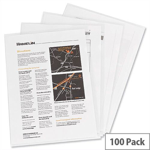 Elba Cut Flush Folder A4 Open Two Sides Clear Pack 100