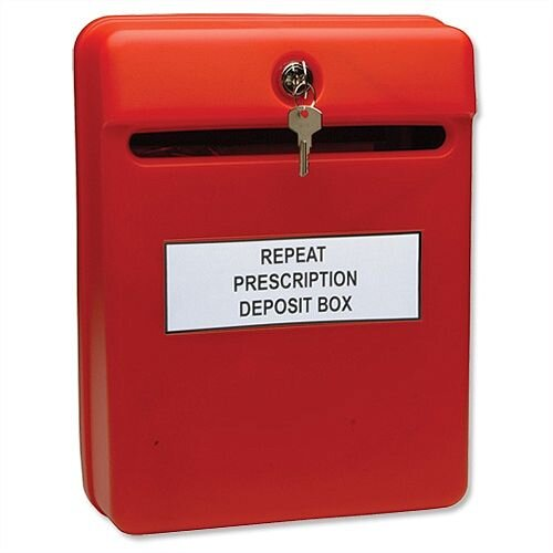 Post or Suggestion Box Wall-mountable with Fixings W235xD130xH310mm Red W81060