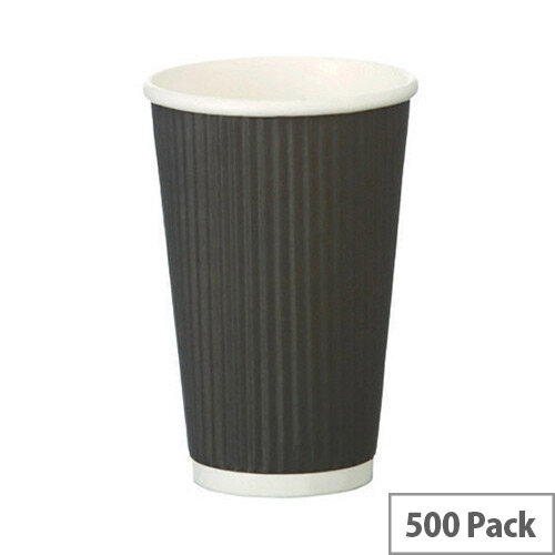 4Aces 8oz/250ml Black Ripple Disposable Hot Drink Paper Cups [Pack of 500]