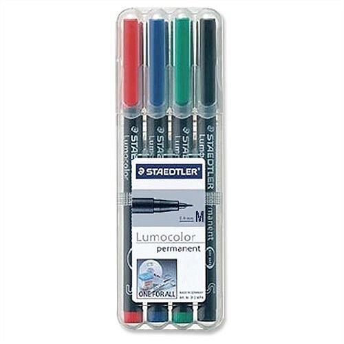 Staedtler Assorted 317 Lumocolor Pen Permanent 0.8mm 317WP4 Wallet 4