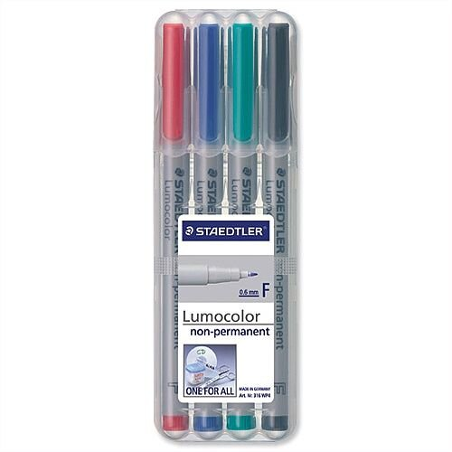 Staedtler 316 Lumocolor Pen 0.6mm Line Non Permanent Assorted 316WP4 Wallet 4