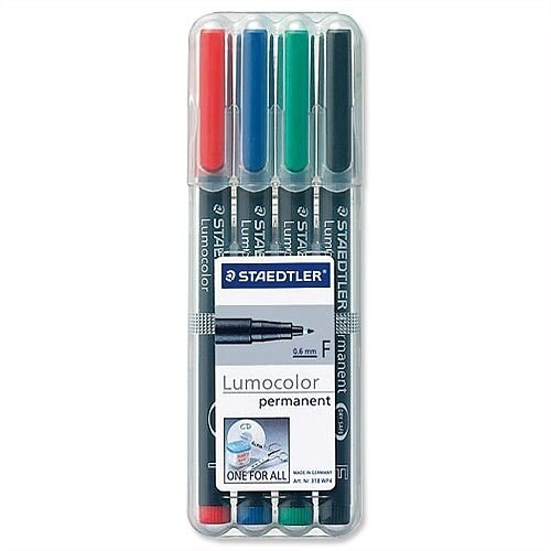 Staedtler 318 Lumocolor Fine Pen Permanent Assorted 0.6mm Wallet 4
