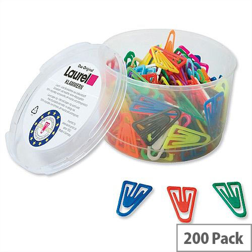 Plastic Paper Clips 35mm Assorted Colours Pack 200 Laurel
