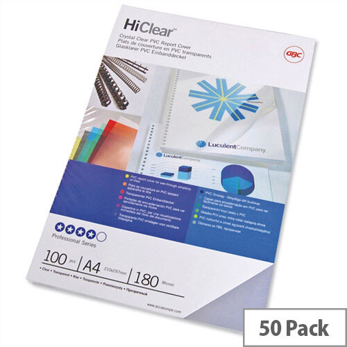 GBC HiClear Binding Report Covers 150 micron Superclear A4 Clear 41601E Pack 25x2