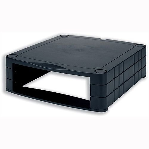 Stackable Monitor Screen Riser with Storage – Black, 20kg Max Weight, Adjustable Height 34mm To 100mm, Extra Space &Lifts CRT Or LCD Monitors (CCS25303)