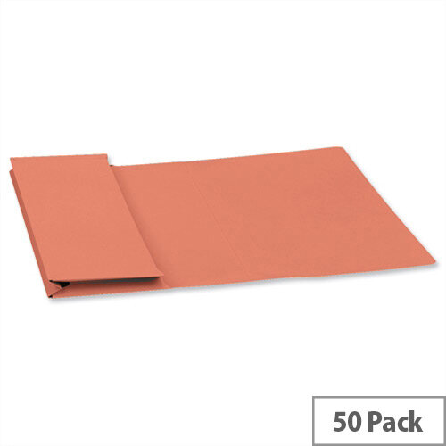 Guildhall Foolscap Document Wallet Orange 315gsm Full Flap Pack of 50