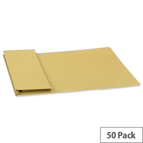 Guildhall Foolscap Document Wallet Yellow 315gsm Full Flap Pack of 50