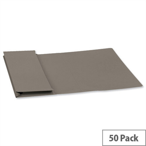 Guildhall Foolscap Document Wallet Grey 315gsm Full Flap Pack of 50