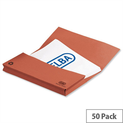 Elba Document Wallet Half Flap 285gsm Capacity 32mm Foolscap Orange 100090241 Pack of 50