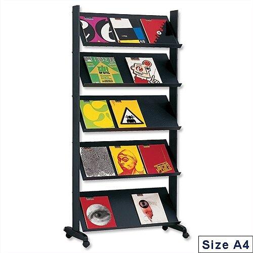 Literature Display Mobile Single Sided 5 Shelves Black