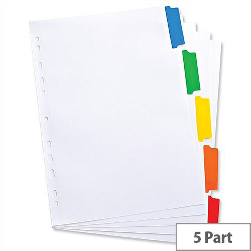 Elba 5-Part Index A4 White Mylar-Reinforced Europunched Coloured Mylar Tabs