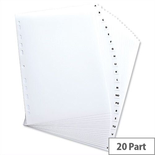 Elba Polypropylene Index Europunched A4 A-Z  Subject Dividers White 100204726