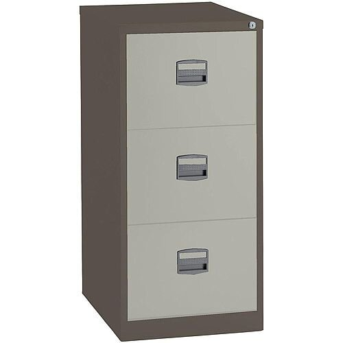3 Drawer Steel Filing Cabinet Lockable Brown &Cream Trexus By Bisley