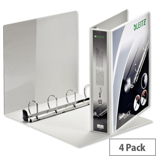 Leitz Softclick Presentation Ring Binder A4 White 40mm Capacity PVC 4 D-Ring 42030001 Pack 4