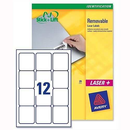 Avery Labels Removable Laser 12 per Sheet 99.1 x 42.3mm White L4743REV-25 300 Labels
