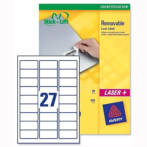 Avery L4737REV-25 Removable Laser Labels 27 per Sheet White 675 Labels