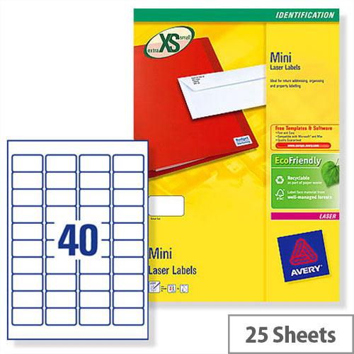 Avery L7654-25 Mini Laser Labels 40 per Sheet 45.7x25.4mm White 1000 Labels