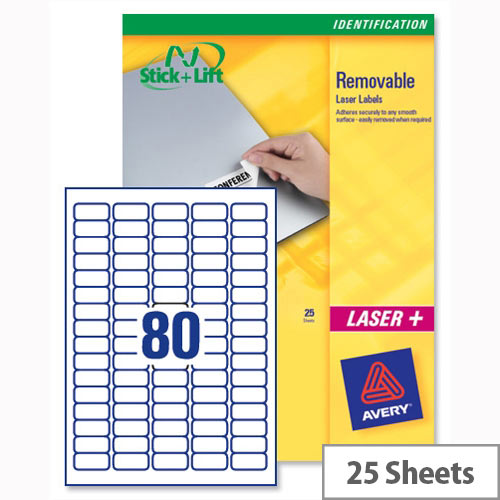 Avery Mini Laser Labels Removable 80 per Sheet L4732REV-25 White 2000 Labels