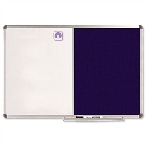 Nobo Elipse Combination Board Magnetic Drywipe and Felt 1200 x 900mm Blue