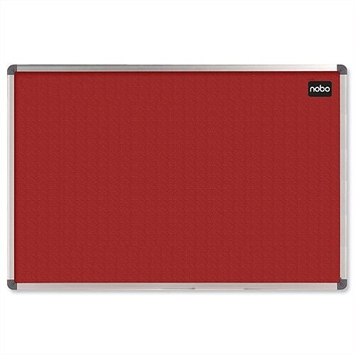 Nobo Felt Notice Board Red 900 x 600mm with Aluminium Frame