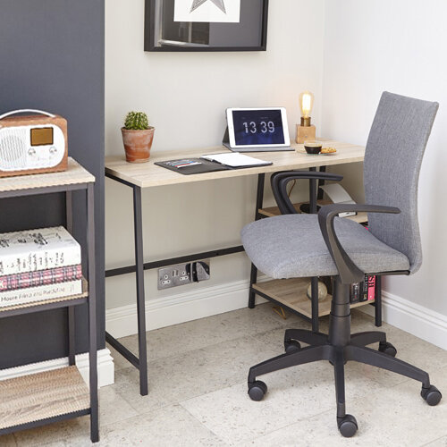 Home Office Bundle - Industrial Style Home Office Bench Desk in Charter Oak With Matching Bookcase &Grey Work Fabric Modern Design High Back Office Chair