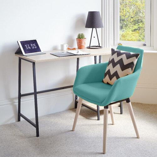 Home Office Bundle -Industrial Style Home Office Bench Desk in Charter Oak &Modern Designed 4 Legged Jade Chair
