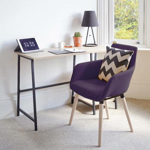Home Office Bundle -Industrial Style Home Office Bench Desk in Charter Oak &Modern Designed 4 Legged Plum Chair
