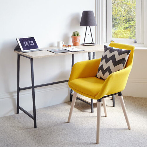 Home Office Bundle - Industrial Style Home Office Bench Desk in Charter Oak &Modern Designed 4 Yellow Legged Chair