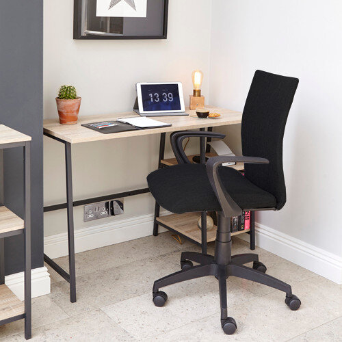 Home Office Bundle - Industrial Style Home Office Bench Desk in Charter Oak &Black Work Fabric Modern Design High Back Office Chair