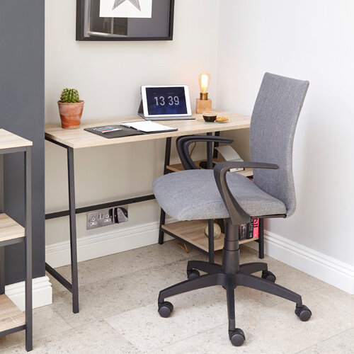 Home Office Bundle - Industrial Style Home Office Bench Desk in Charter Oak &Grey Work Fabric Modern Design High Back Office Chair