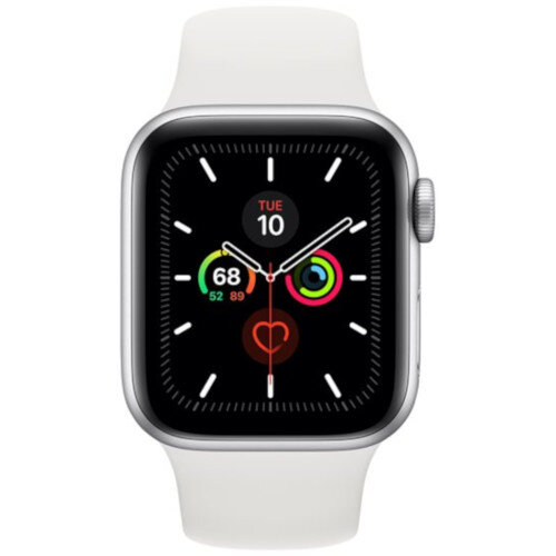 Apple Watch Series 5 (GPS) - 40 mm - silver aluminium - smart watch with sport band - fluoroelastomer - white - band size 130-200 mm - S/M/L - 32 GB - Wi-Fi, Bluetooth - 30.8 g