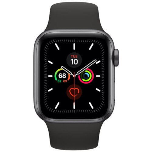 Apple Watch Series 5 (GPS) - 40 mm - space grey aluminium - smart watch with sport band - fluoroelastomer - black - band size 130-200 mm - S/M/L - 32 GB - Wi-Fi, Bluetooth - 30.8 g
