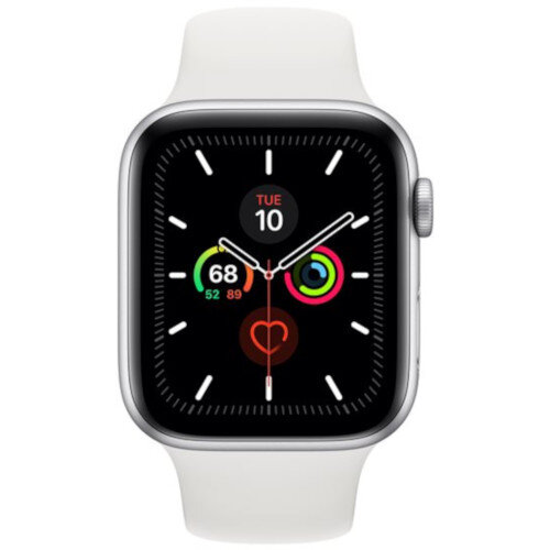 Apple Watch Series 5 (GPS) - 44 mm - silver aluminium - smart watch with sport band - fluoroelastomer - white - band size 140-210 mm - S/M/L - 32 GB - Wi-Fi, Bluetooth - 36.5 g