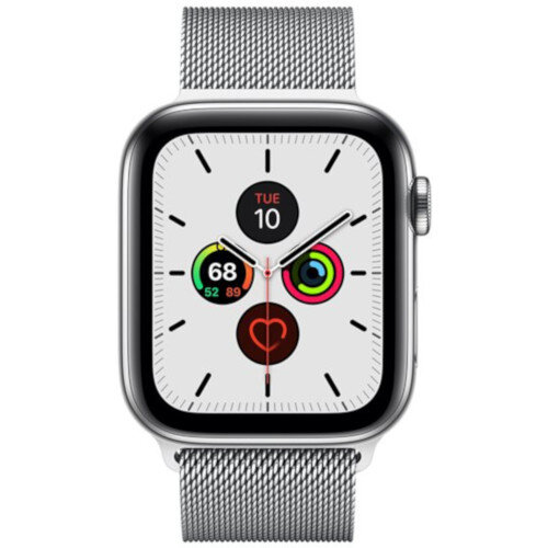 Apple Watch Series 5 (GPS + Cellular) - 44 mm - stainless steel - smart watch with milanese loop - steel mesh - silver - band size 150-200 mm - 32 GB - Wi-Fi, Bluetooth - 4G - 47.8 g