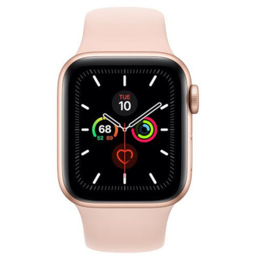 Apple Watch Series 5 (GPS + Cellular) - 40 mm - gold aluminium - smart watch with sport band - fluoroelastomer - pink sand - band size 130-200 mm - S/M/L - 32 GB - Wi-Fi, Bluetooth - 4G - 30.8 g