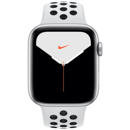 Apple Watch Nike Series 5 (GPS) - 44 mm - silver aluminium - smart watch with Nike sport band - fluoroelastomer - pure platinum/black - band size 140-210 mm - S/M/L - 32 GB - Wi-Fi, Bluetooth - 36.5 g
