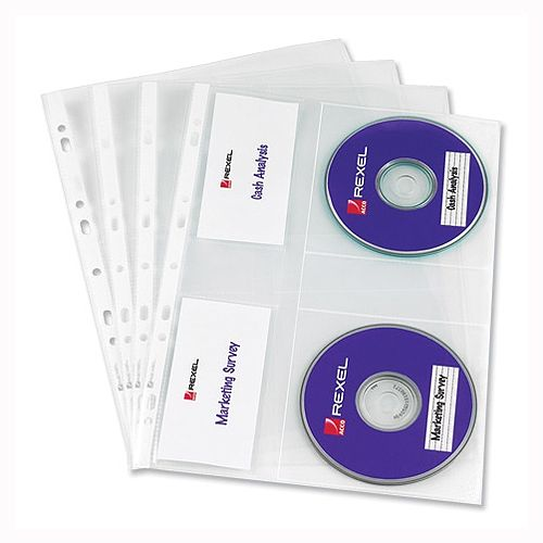 Rexel Nyrex CD Punched Pockets A4 Clear Pack 5