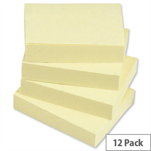 Sticky Notes Pad of 100 Sheets 38x51mm Yellow Pack 12 5 Star