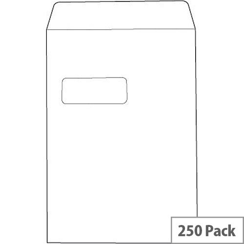 White Box C4 Window Envelope White Pocket Press Seal 90gsm Pack 250
