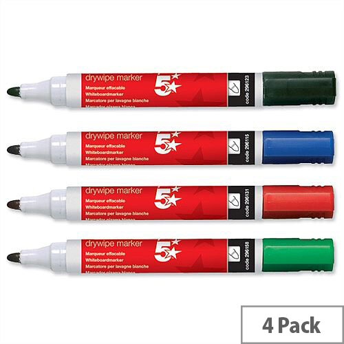 5 Star Dry-wipe Markers Assorted Colours Bullet Tip Pack 4. Xylene &Toluene Free Making Them Suitable For Use By Kids &Children. Ideal For Schools, Colleges, Offices, Homes &More.