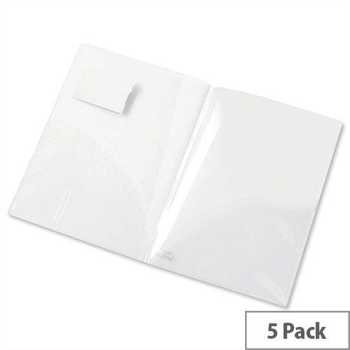 A4 Clear Twinfile Presentation Folder Polypropylene Pack 5 Snopake Electra