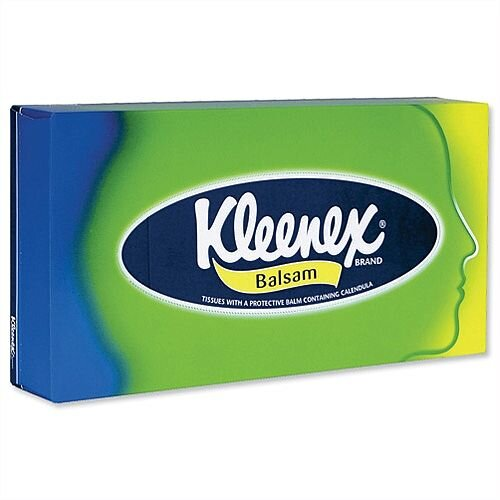 Kleenex Balsam Facial Tissues Flat Box with Protective Balm 64 Sheets Pack 1
