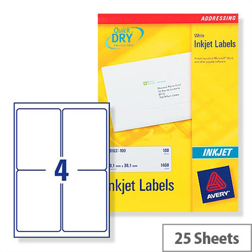 Avery White Quickdry Inkjet Labels 4 Per Sheet Pack of 100 Ref J8169-25