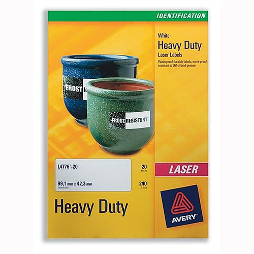 Avery L4775-20 Heavy Duty Labels Laser White 210x297mm 20 Labels