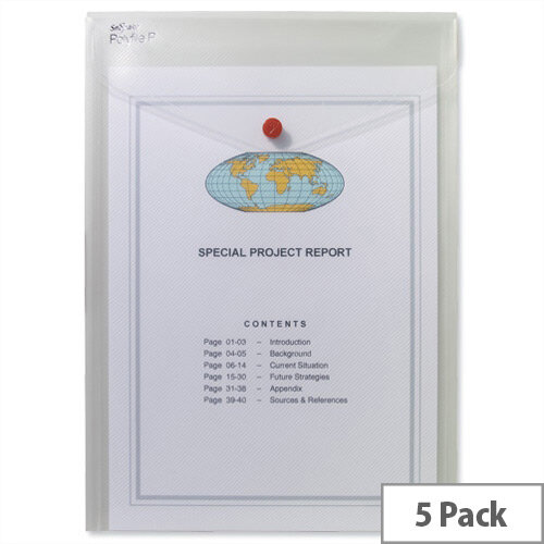 Snopake Polyfile P A4 Wallet File Portrait Clear Pack 5
