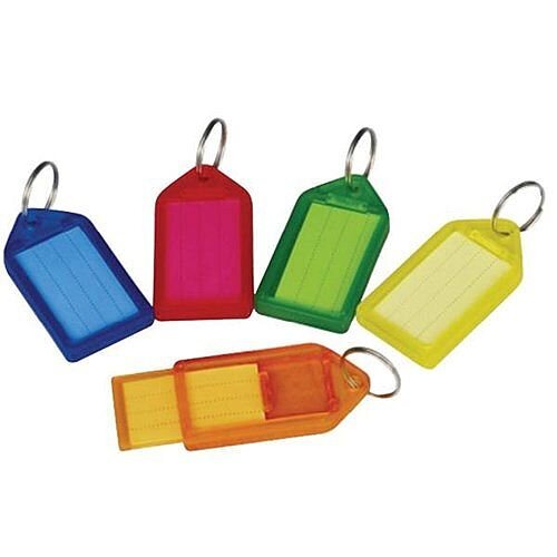 5 Star Key Hanger Sliding with Fob Label Area 52x32mm Tag Size Large 73x38mm Assorted [Pack 50]
