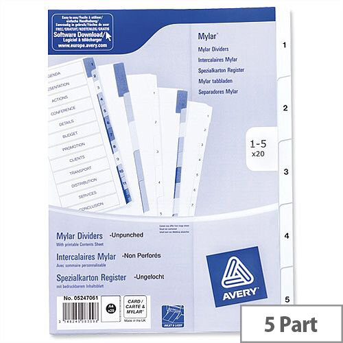 Avery 1-5 Unpunched Index White A4 Pack 20