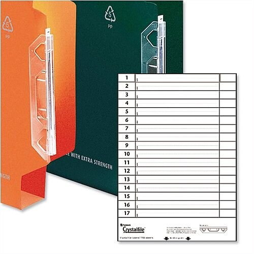 Card Inserts for Rexel Crystalfile 330mm Lateral File Tabs White 70676 Pack 25