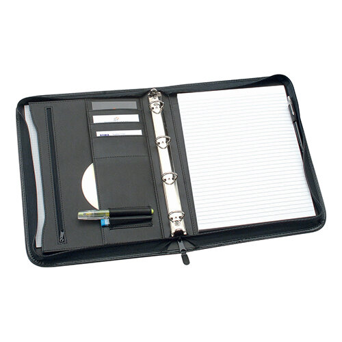 Office Zipped Conference Ring Binder Capacity 25mm Leather Look A4 Black 5 Star